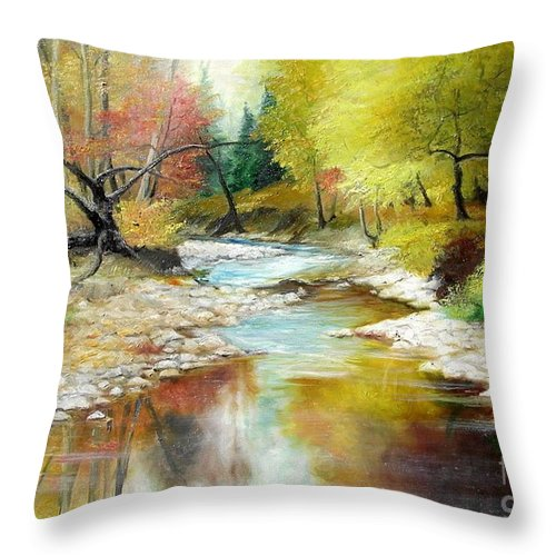 Tree Throw Pillow featuring the painting Autumn by Sorin Apostolescu