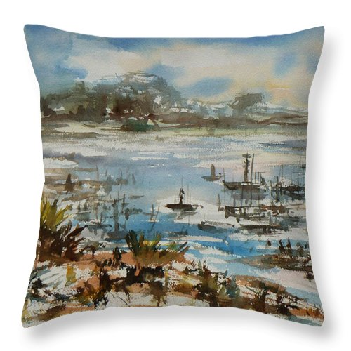 Monterrey Throw Pillow featuring the painting Bay Scene by Xueling Zou