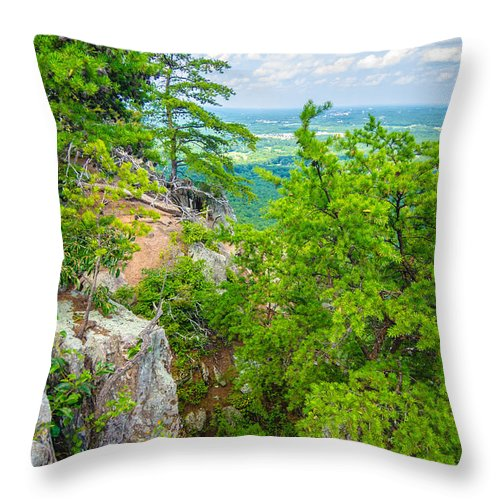 Aerial Throw Pillow featuring the photograph Beautiful Aerial Landscape Views From Crowders Mountain North Ca by Alex Grichenko