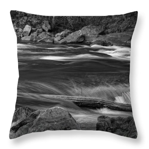 Black & White Throw Pillow featuring the photograph Bog River by Jeffery L Bowers