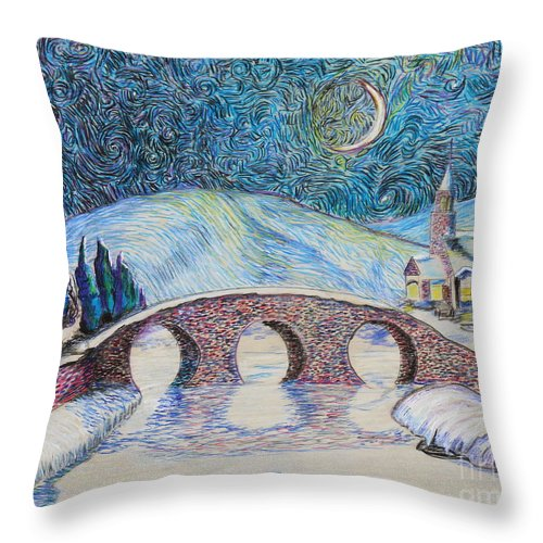 Prismacolor Throw Pillow featuring the painting Bridge To Eternity by Stefan Duncan