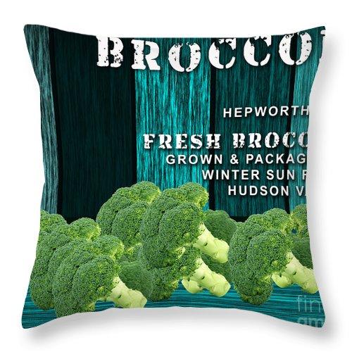 Broccoli Art Mixed Media Mixed Media Throw Pillow featuring the mixed media Broccoli Farm by Marvin Blaine