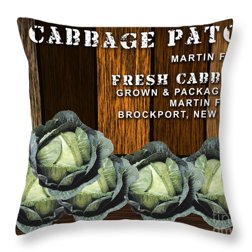 Cabbage Art Mixed Media Throw Pillow featuring the mixed media Cabbage Farm by Marvin Blaine