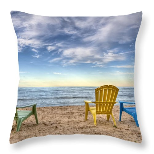 Chairs Throw Pillow featuring the photograph 3 Chairs by Scott Norris