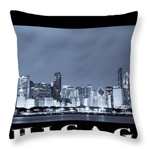 Chicago Skyline Throw Pillow featuring the photograph Chicago Skyline At Night by Sebastian Musial