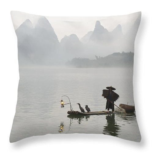 Asia Throw Pillow featuring the photograph Chinese Fisherman On Li River, China by John Shaw