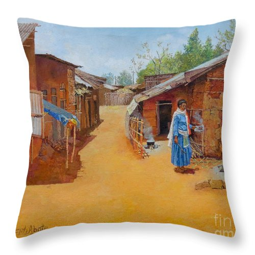 Cityscape Throw Pillow featuring the painting Cityscape by Yoseph Abate