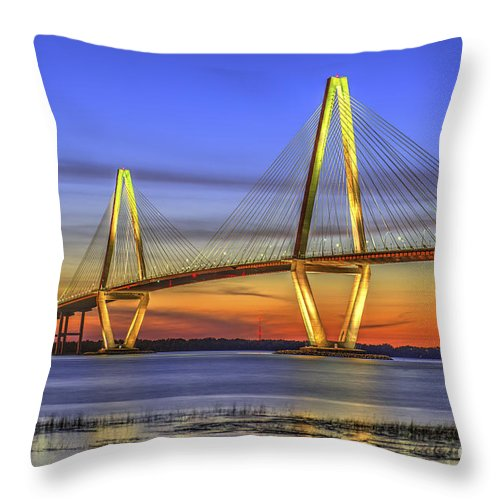 Charleston Throw Pillow featuring the photograph Cooper River Bridge by Dale Powell