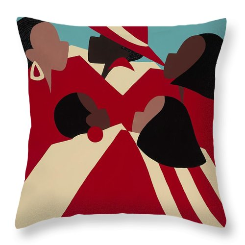 African American Throw Pillow featuring the painting Crimson And Cream by Synthia SAINT JAMES