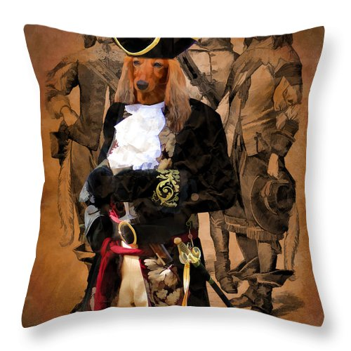 Dachshund Throw Pillow featuring the painting Dachshund Art Canvas Print by Sandra Sij