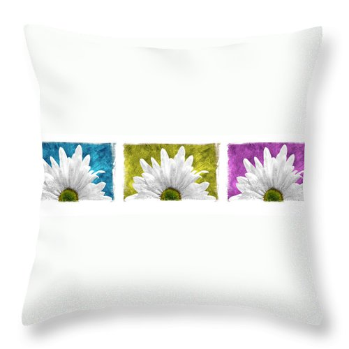 Art Throw Pillow featuring the pyrography 3 Daisies by Mauro Celotti
