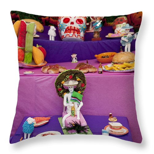Day Of The Dead Throw Pillow featuring the photograph Day Of The Dead Remembrance, Mexico by John Shaw