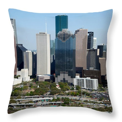 Houston Throw Pillow featuring the photograph Downtown Houston Skyline by Bill Cobb
