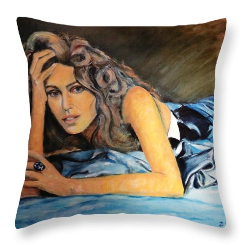 Portrait-painting Throw Pillow featuring the painting Temptation by Dagmar Helbig