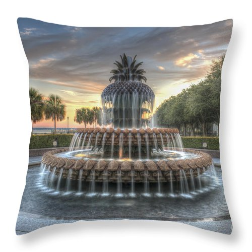 Pineapple Fountain Throw Pillow featuring the photograph Evening Sky by Dale Powell