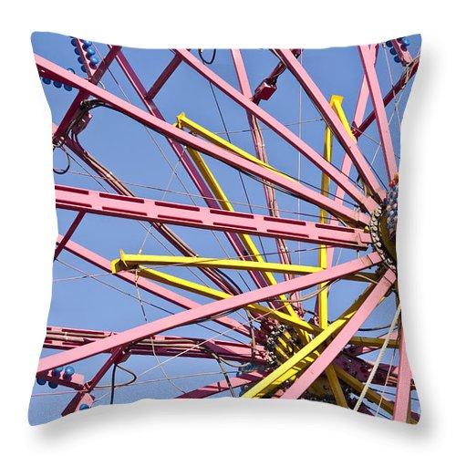Americana Throw Pillow featuring the photograph Evergreen State Fair Ferris Wheel by Jim Corwin