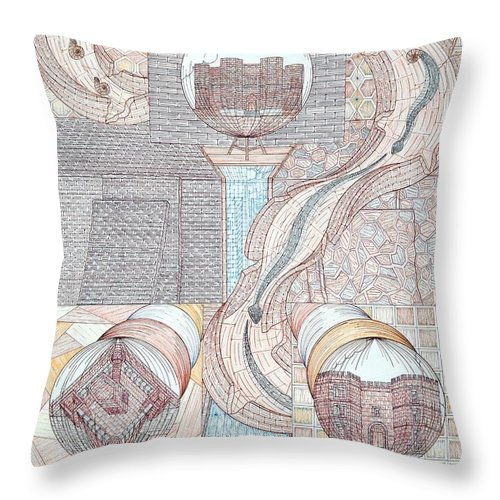 Castles Throw Pillow featuring the mixed media Fortune Of Castles by Robert Robbins
