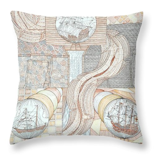 Fortune Teller Throw Pillow featuring the mixed media Fortune Of Ships by Robert Robbins