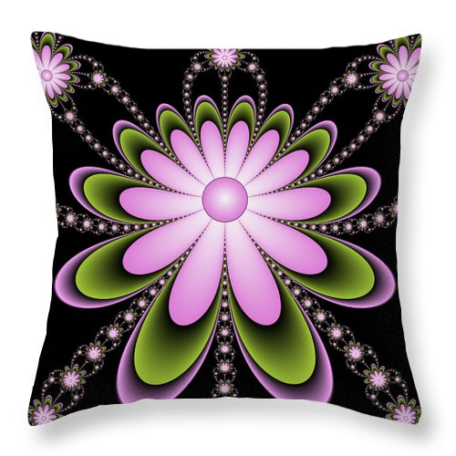 Digital Art Throw Pillow featuring the digital art Fractal Floral Decorations by Gabiw Art