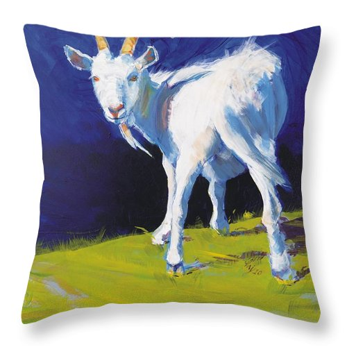 Goats Throw Pillow featuring the painting Goat by Mike Jory