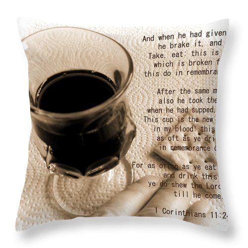 Holy Throw Pillow featuring the photograph Holy Communion by Kathy Clark