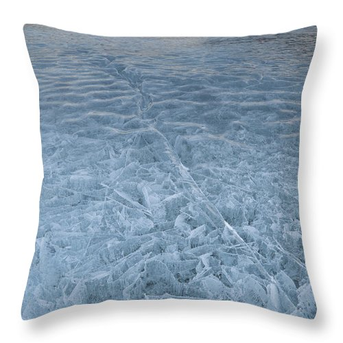 Nature Throw Pillow featuring the photograph Ice On Abraham Lake by John Shaw