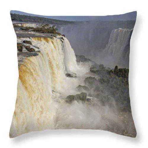Brazil Throw Pillow featuring the photograph Iguassu Falls by Michele Burgess