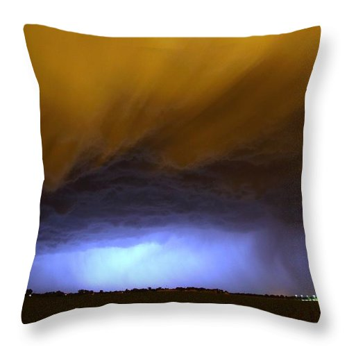 Stormscape Throw Pillow featuring the photograph In The Belly Of The Beast by NebraskaSC