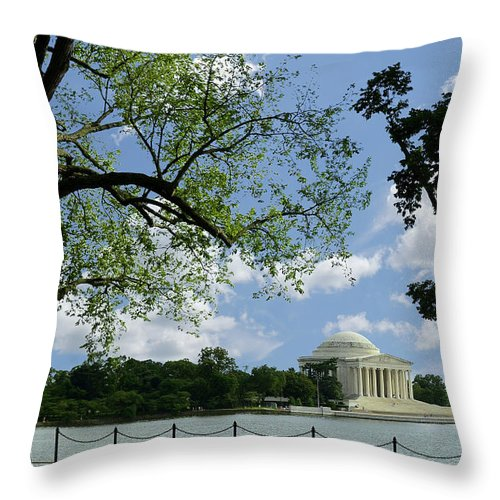 Jefferson Throw Pillow featuring the photograph Jefferson Memorial by Allen Beatty