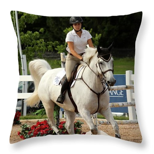 Equestrian Throw Pillow featuring the photograph Jumper1 by Janice Byer