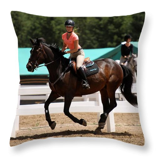 Equestrian Throw Pillow featuring the photograph Jumper10 by Janice Byer