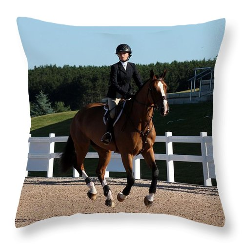 Equestrian Throw Pillow featuring the photograph Jumper12 by Janice Byer