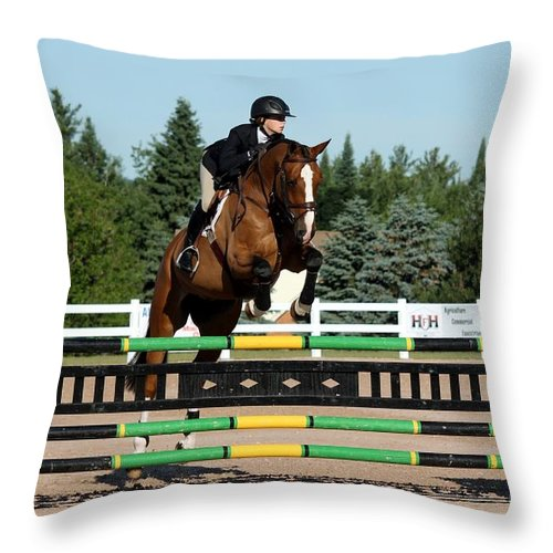 Equestrian Throw Pillow featuring the photograph Jumper13 by Janice Byer