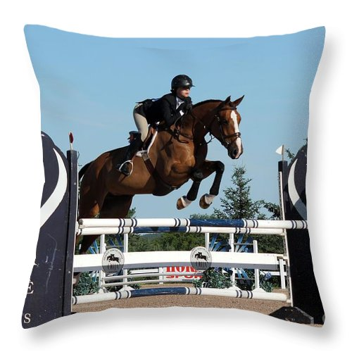 Equestrian Throw Pillow featuring the photograph Jumper14 by Janice Byer