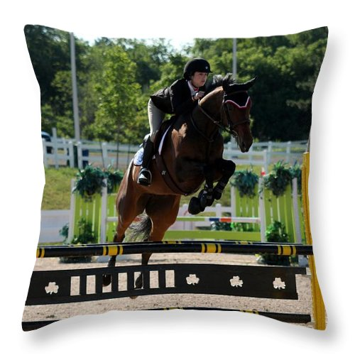 Equestrian Throw Pillow featuring the photograph Jumper16 by Janice Byer