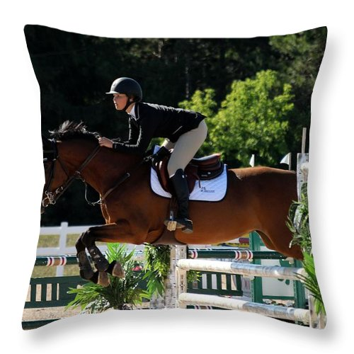 Equestrian Throw Pillow featuring the photograph Jumper21 by Janice Byer