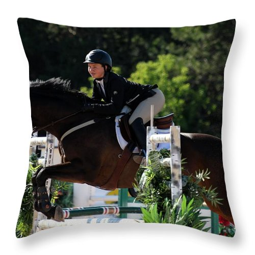 Equestrian Throw Pillow featuring the photograph Jumper25 by Janice Byer