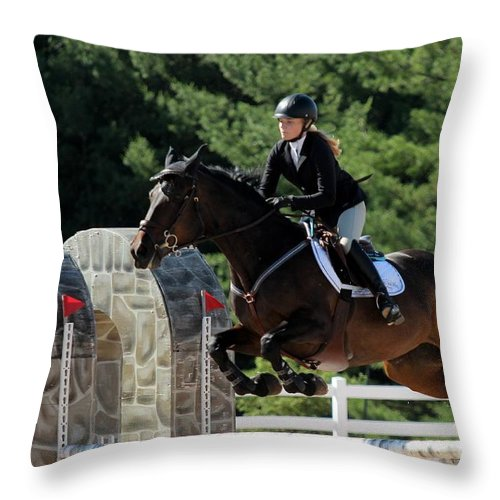 Equestrian Throw Pillow featuring the photograph Jumper26 by Janice Byer