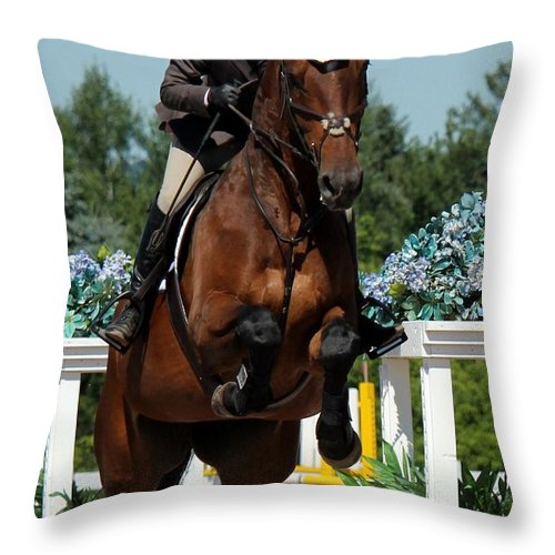 Equestrian Throw Pillow featuring the photograph Jumper30 by Janice Byer