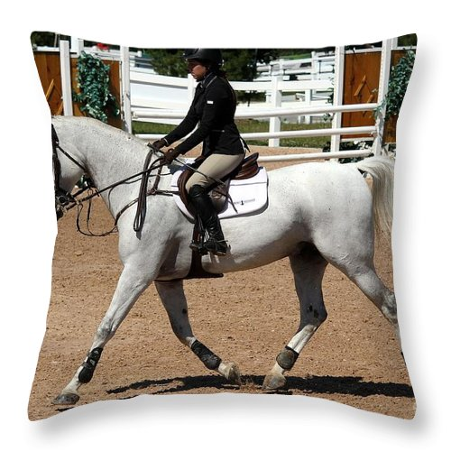 Equestrian Throw Pillow featuring the photograph Jumper33 by Janice Byer