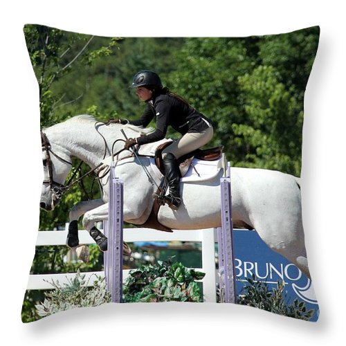Equestrian Throw Pillow featuring the photograph Jumper34 by Janice Byer