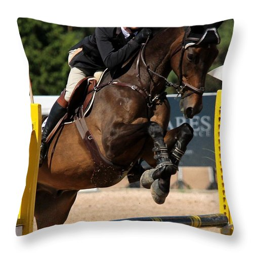 Equestrian Throw Pillow featuring the photograph Jumper38 by Janice Byer