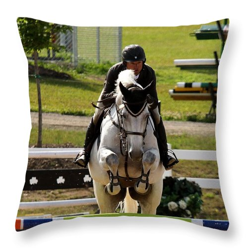 Equestrian Throw Pillow featuring the photograph Jumper4 by Janice Byer