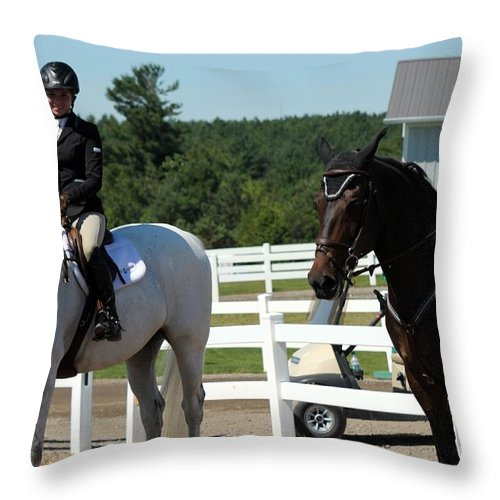 Equestrian Throw Pillow featuring the photograph Jumper42 by Janice Byer