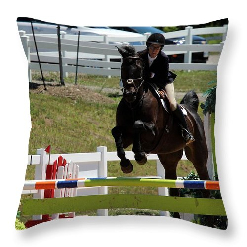 Equestrian Throw Pillow featuring the photograph Jumper47 by Janice Byer