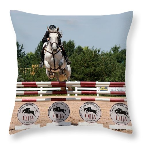 Equestrian Throw Pillow featuring the photograph Jumper51 by Janice Byer