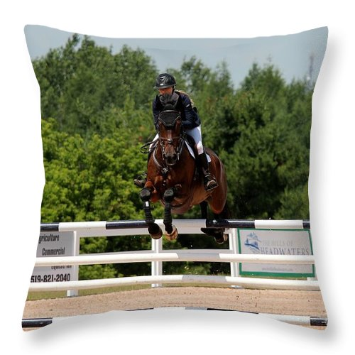 Equestrian Throw Pillow featuring the photograph Jumper58 by Janice Byer