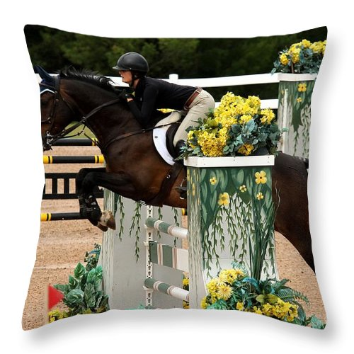 Equestrian Throw Pillow featuring the photograph Jumper6 by Janice Byer