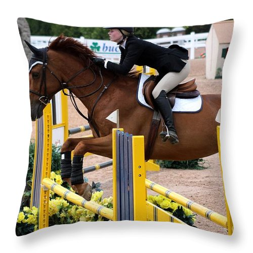 Equestrian Throw Pillow featuring the photograph Jumper63 by Janice Byer