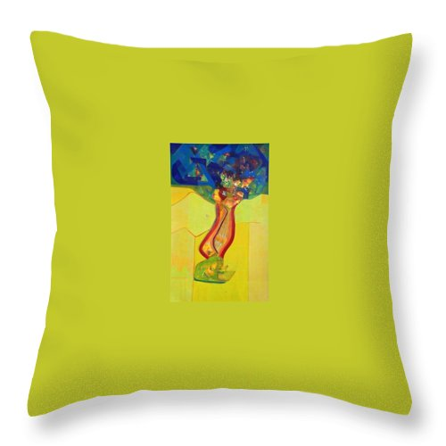 Lord Krishna Throw Pillow featuring the painting Life by Sanjay Punekar